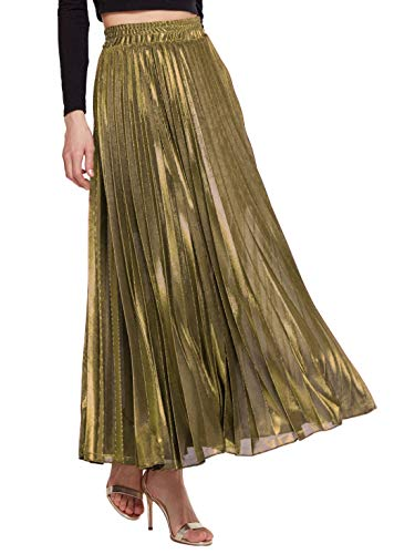 Amormio Women's Glittery Gold/Silver High-Waist Metallic Accordion Pleated Formal Party Maxi Skirt (Luxurious Gold, Medium) -
