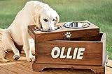 Elevated Dog Feeder and Storage Box - Elevated Dog Bowl - Rustic Dog Bowl Stand - Raised Dog Bowl - Raised Dog Feeder - Pet Bowl Stand