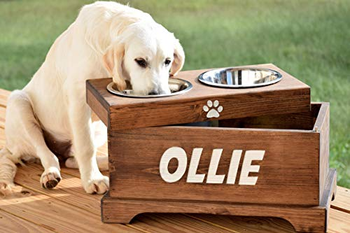 Elevated Dog Feeder and Storage Box with Rustic Dog Bowl Stand