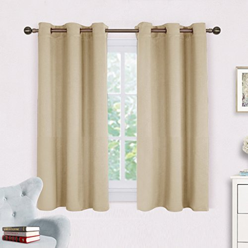 NICETOWN Room Darkening Draperies Window Curtain Panels, Thermal Insulated Grommet Room Darkening Curtains for Bedroom (Cream Beige, 2 Panels, W42 x L54 ()