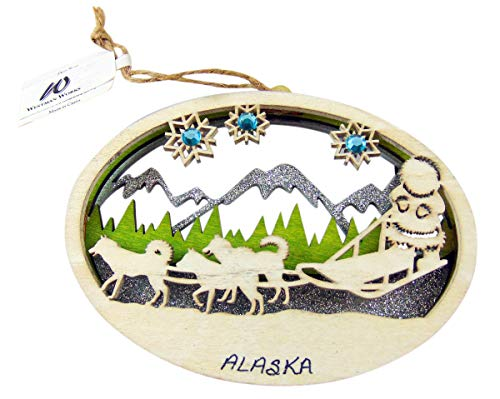 Westman Works Alaska Wooden Christmas Ornament Boxed Gift Alaskan Scene Cut Out Decoration, 4 Inch