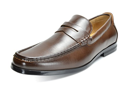 BRUNO MARC MODA ITALY HARRY-02 Men's Dress Classic Leather Lining Slip On Casual Penny Loafers shoes Dark-Brown SIZE 10.5