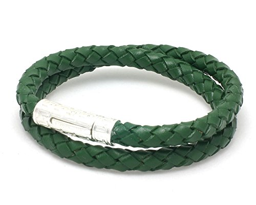 VIRGINSTONE Silver Plating Double Rows Braided Genuine Leather Tube Lock Bracelets (Army Green, L)