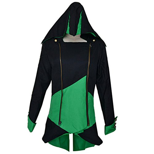 Ainiel Cool Stylish Color Block Long Sleeve Halloween Cosplay Costume Hooded Jacket(Black Green ()
