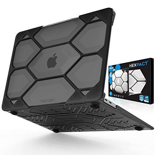 IBENZER Hexpact MacBook Air 13 Inch Case 2019 2018 Release New Version A1932, Heavy Duty Protective Case for Apple MacBook Air 13 Retina with Touch ID, Black LC-HPE-A13T-CYBK