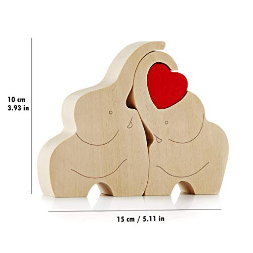 IK Style Symbol of Love Longevity and Unity - Loving Wooden Love Elephant Couple with Red Hearth - Elephant Ornament Decor with Message of Love