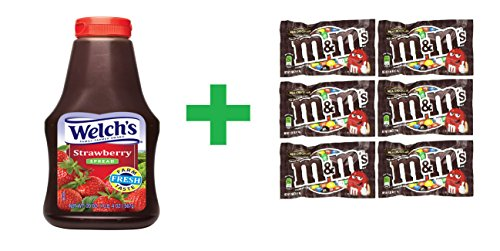 Welch's Strawberry Squeeze Spread 20 OZ (Pack of 8) + (6 Pack of M&M Milk Chocolate 1.69oz) (Welch Natural Grape Jelly compare prices)