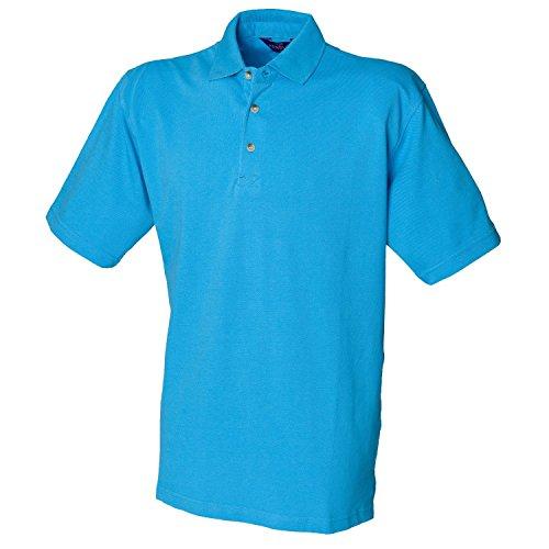 Henbury Klassisches schwere Pique Polo Shirt H100Surf Blue Small