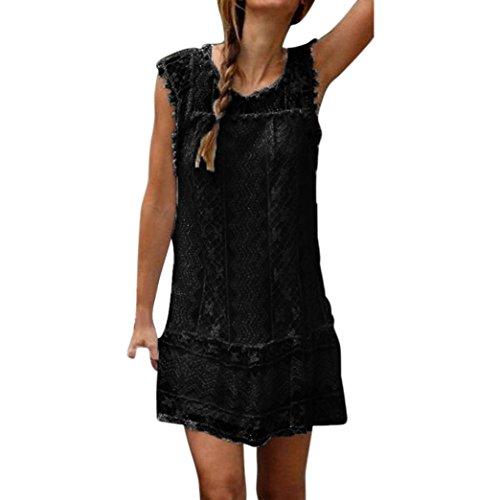 La mujer vestido,Sonnena ❤️ ❤️ ❤️ Bohemian blanco impresión hueca de encaje vestido Suelto suave vestido de manga corta para sexy mujer casual ropa al aire libre de Verano Negro