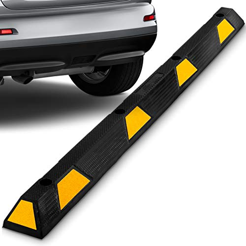 Curb Parking Garage Floor Stopper - 72 Inch  Extra Wide Heavy Duty Rubber Parking Lot Stopper, for Vehicles Truck Driveway, Protect Pumpers From Cars Vans Trucks - Pyle -