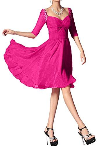 Kurz Festkleid Mit Aermeln Bildfarbe Beliebt Damen Brautjungfernkleid Abendkleider Ivydressing Chiffon qx6tAt8