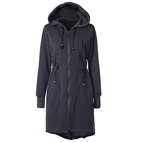 Womens Casual Warm French Terry Zip Up Long Hoodies Coat Fleece Tunic Sweatshirts Jacket (XL, Dark Gray)