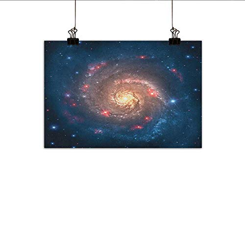"Littletonhome Outer Space Modern Oil Paintings Mystical Spiral Galaxy Expanse Beyond Milky Way Planet Astral Space Art Canvas Wall Art 47""x31"" Petrol Blue Peach"