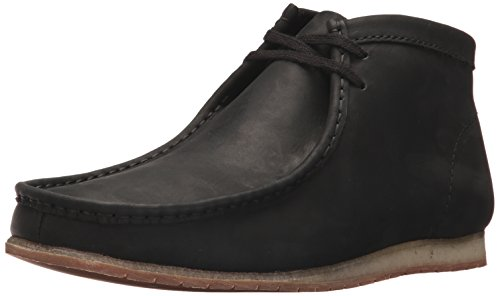 CLARKS Men's Wallabee Step Boot Chukka Boot, Black Leather, 9 M US by CLARKS