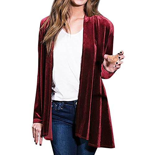 JOFOW Womens Long Velvet Suit Jackets Plus Size Coats Solid Waterfall Swing Collar Vintage Casual Loose Straight Cardigans (S =US:0-2,Wine)