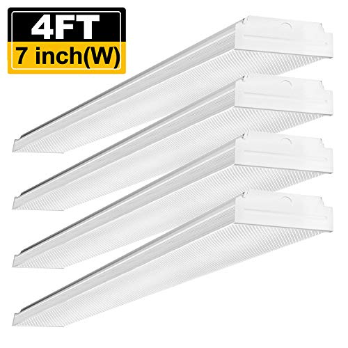 Wrap Light Around Fluorescent (AntLux 4ft LED Garage Shop Lights LED Wraparound Light Fixture - 40W 4800LM - 4000K Neutral White - Integrated Low Profile Linear Flush Mount Ceiling Lighting - 120W Fluorescent Replacement - 4 Pack)