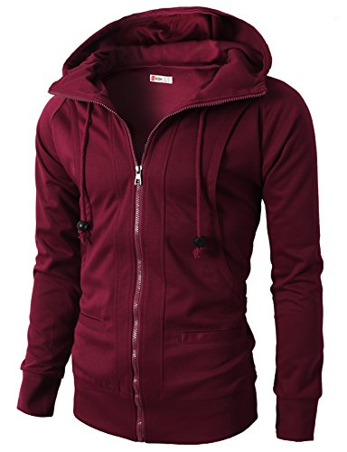 (H2H Mens Classic Fashion Full-Zip Sherpa Lined Fleece Hoodies for Men Plus Sizes MAROON US 2XL/Asia 4XL)