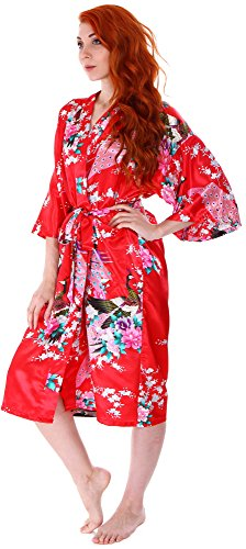 Women's Kimono Robes Peacock Blossoms Silk Satin Long Nightgown Sleepwear, Red by EPYA (Image #3)