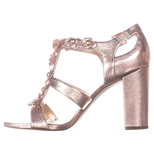 Michael Sandals Open Toe Kors (KORS by Michael Kors Womens Tricia T Strap Leather Open Toe, Soft Pink, Size 9.5)
