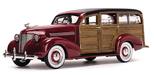Woody Surf Wagon (1939 Chevrolet Woody Surf Wagon Permanent Red with Surf Board and Real Wood 1/18 by Sunstar 6176)
