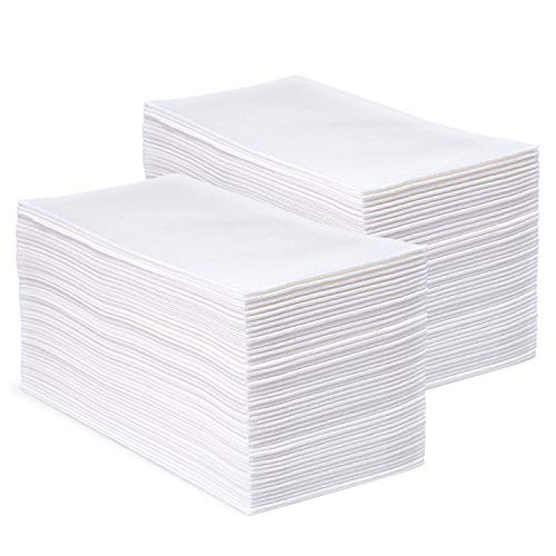 (Bellingham Collection White Disposable Napkins and Hand Towels - Home and Office Kitchen Supplies, Toilet and Bathroom Use - Super Soft Linen-Like Airlaid Multifold Tissue - 12