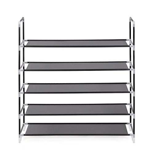 Songmics 5 Tier Shoe Rack Standing Storage Organizer for 25 pairs of shoes Black 88 x 28 x 91 cm LSR05H