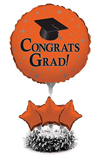 Orange Graduation Air Filled Balloon Kit Centerpiece | Grad Party Table Centerpiece & -