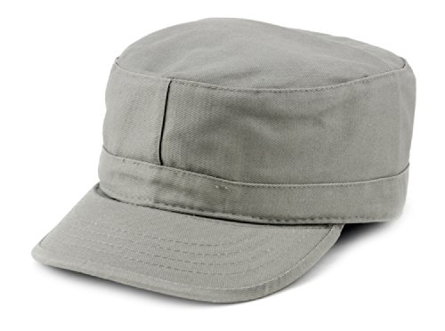 NYFASHION101 Fashionable Solid Color Unisex Fitted Army Military Cadet Cap, Gray, XL