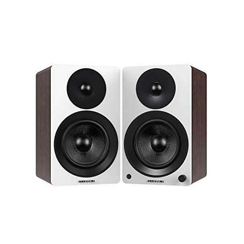 Fluance Ai40WW Powered Two-Way 5″ 2.0 Bookshelf Speakers with 70W Class D Amplifier for Turntable, PC, HDTV & Bluetooth aptX Wireless Music Streaming (White Walnut)