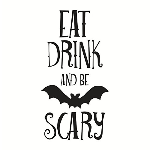 (Blackzone Home Decorate Wall Sticker Creative Letters Print Bat Floor Door Window Wall Sticker Halloween Party)