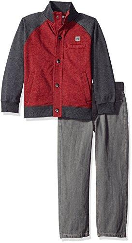 Calvin Klein Little Boys' Toddler Color Block Jacket with Jeans Pants Set, Red, 3T (Colour Block Jacket)
