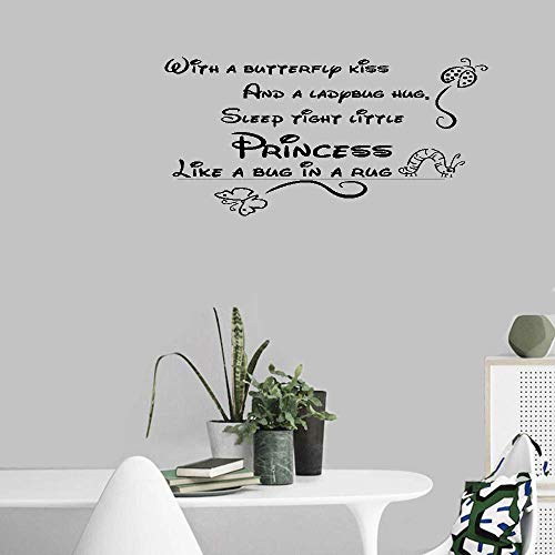 Bluegiants Vinyl Wall Decals Quotes Sayings Words Lettering Inspirational with A Butterfly Kiss and A Ladybug Hug Sleep Tight Little Princess Like A Bug in A Rug for Nursery Kids ()