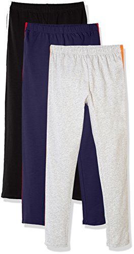 Solid Stretch Cotton (Kid Nation Girls' 3 Pack Solid Cotton Stretch Legging XS Navy+Black+Gray)