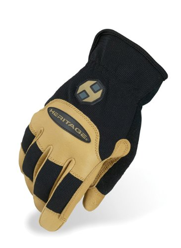 - Heritage Stable Work Gloves, Size 6, Black/Tan