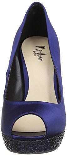 Menbur Pousseur - Zapatos de vestir de satén para mujer azul - Blue (Midnight Blue)