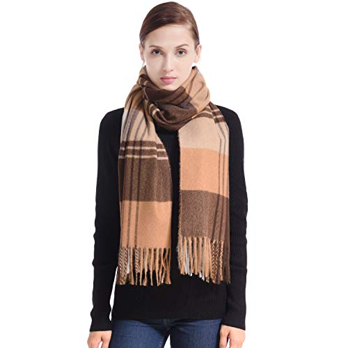 LERDU Ladies Gift Idea Cashmere Tartan Pashmina Scarf Fashion Dark & Light Camel Tartan Warm Wool Wrap Shawl Winter Stole for Women for $<!--$49.99-->
