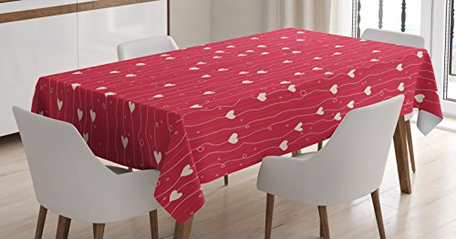 Lunarable Hearts Tablecloth, Valentines Day Themed Pattern with Lines Dots Hearts in Vibrant Colored Image, Dining Room Kitchen Rectangular Table Cover, 60 W X 84 L inches, Dark Coral Cream -