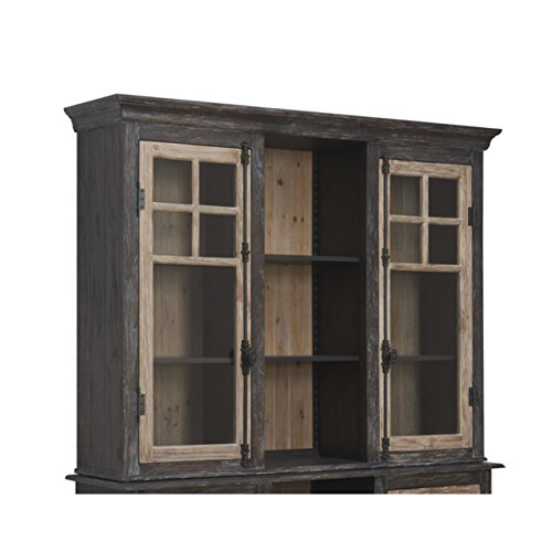 Emerald Home Barcelona Dark Brown and Rustic Pine Hutch with Glass Doors And Display Shelves