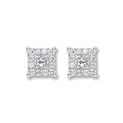 Jareeya-Carré Diamant clouté Boucles d'oreille à tige, 0,50CT Diamant, Or blanc 18ct