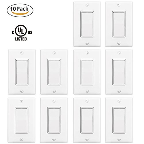 BESTTEN Wall Light Switch Interrupter (15Amp 120/277Volt) with Plates, Residential & Commercial Grade, Grounding, White [10 Pack] White Light Switch