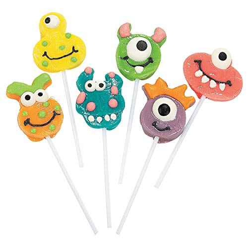 Fun Express - Goofy Monster Head Suckers for Birthday - Edibles - Sucker & Pop - Character Suckers - Birthday - 12 Pieces -