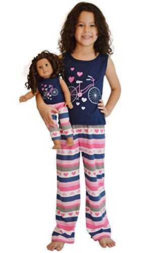 Girl and Doll Matching Outfit Clothes - Tank Top and Sweatpants Set for Girl & Doll - Size 8 - Doll Clothes Pajamas