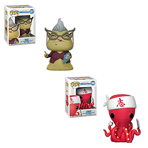 Funko POP! Disney and Pixar Monsters Inc: Roz and Chef Toy Action Figure - 2 POP BUNDLE -