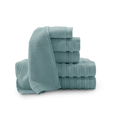 Baltic Linen Company Pure Elegance 100-Percent Turkish Cotton 6-Piece Luxury Towel Set, Smoke Blue