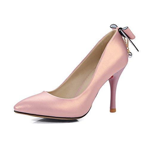 AllhqFashion Mujeres Tacón Alto PU Sin Cordones Puntera EN Punta Zapatos de Tacón Rosa