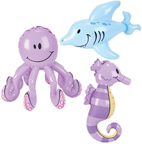 Inflatable Sea Creatures - Pool Party Decorations (1 dz) by Rhode Island Novelty