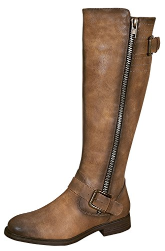 Pita-40 Women's Zipper Dressy Knee High Rider Boots with Buckle Accent Nude 7