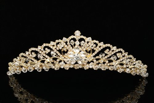 Bridal Wedding Princess Rhinestones Crystal Flower Tiara Crown - Gold Plating