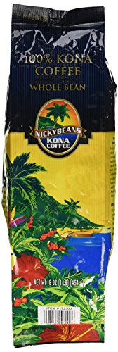 100% Kona Coffee Whole Bean Nicky Beans 1 Pound