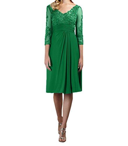Spitze Charmant Abendkleider Langarm Grün 3 Brautmutterkleider Kurzes Rock Chiffon 4 A Damen Formalkleider Knielang Linie mit qCrtzRxqw